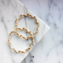 GOLD TWISTED HOOP NO 2